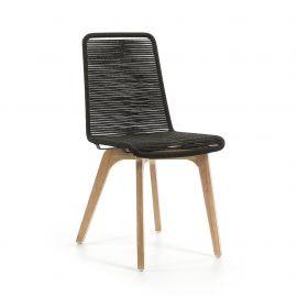 Scaun din lemn pentru interior si exterior, GLENDON gri inchis - Evambient Barcelona Living - Scaune