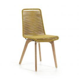 Scaun din lemn pentru interior si exterior, GLENDON galben - Evambient Barcelona Living - Scaune
