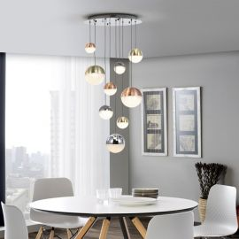 Lustra LED design modern cu 9 pendule Sphere