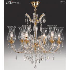 Candelabru cu 6 brate, design LUX, placat cu aur si cristale Asfour, Anais - Bejorama Valencia - Candelabre, Lustre