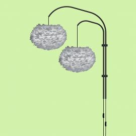 Aplica dubla, cu pene de gasca EOS medium gri 45cm - Evambient VTC - Aplice