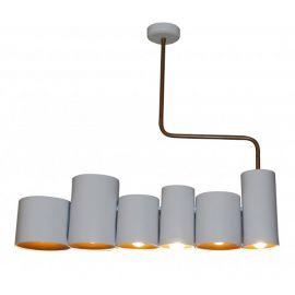 Lustra design industrial HL-3567-6P BRODY WHITE & GOLD MAT - Evambient HL - Candelabre, Lustre