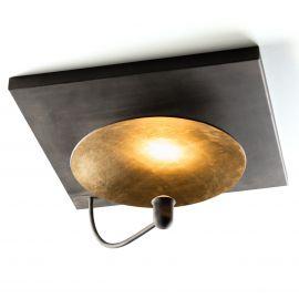 Plafoniera din fier forjat cu placa reflectorizanta aurie DE 2638, 60cm - Robers - Lustre, Candelabre Fier Forjat