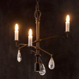 Candelabru impresionant din fier forjat si cristal de stanca HL 2637 - Robers - Lustre, Candelabre Fier Forjat