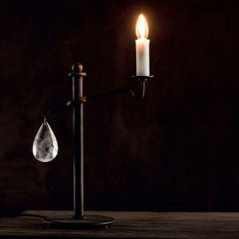 Lampa de masa din fier forjat si cristal de stanca TL 4103 - Robers - Veioze, Lampadare Fier Forjat