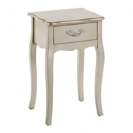 Noptiere - Noptiera eleganta cu un sertar, argintie, FRANCÉS
