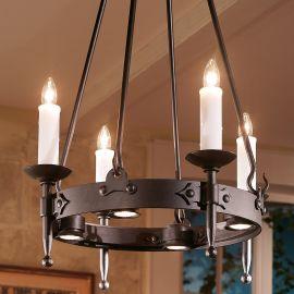 Lustra din fier forjat cu 4 surse de lumina design lumanare HL 2441-ST - Robers - Lustre, Candelabre Fier Forjat