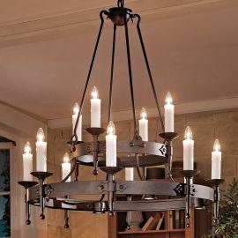 Lustra din fier forjat cu 12 surse de lumina design lumanare HL 2444-ST - Robers - Lustre, Candelabre Fier Forjat