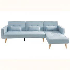 Coltar extensibil Nordic 265cm, albastru pastel