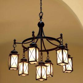 Candelabru iluminat exterior cu 7 brate din fier forjat HL 2588 - Robers - Lustre Exterior Fier Forjat