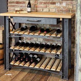 Raft sticle de vin design industrial din fier forjat H 16929 - Robers - Biblioteci-Rafturi