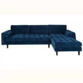 Coltar elegant Cozy, catifea albastru inchis