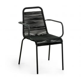 Scaun pentru interior sau exterior GLENVILLE, negru - Evambient Barcelona Living - Scaune