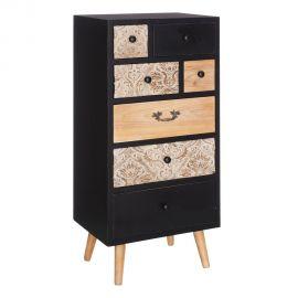Comoda cu 7 sertare design vintage KAIRA, negru/ natur - Evambient SX - Comode