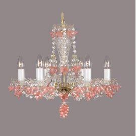 Lustra 6 brate cristal Bohemia, rosaline mat