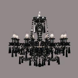 Lustra 8 brate cristal Bohemia, nickel/ black