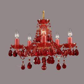 Lustra 5 brate cristal Bohemia, ruby