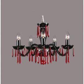 Lustra 5 brate cristal Bohemia, black/ ruby