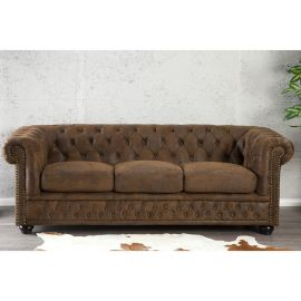 Canapele - Canapea Chesterfield 3 locuri maro antic