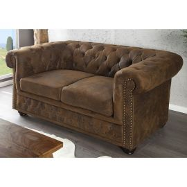 Canapele - Canapea Chesterfield 2 locuri maro antic