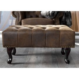 Taburete Chesterfield maro antic