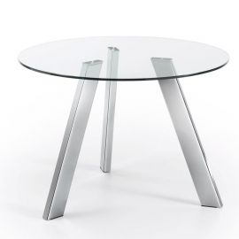 Masa COLUMBIA 110cm crom/ transparent - Evambient Barcelona Living - Mese dining
