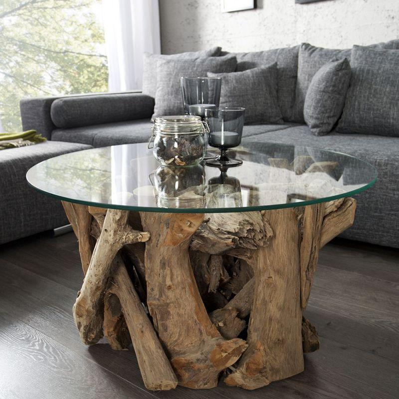 Masuta de cafea nature lounge 50cm for Design couchtisch nature lounge teakholz mit runder glasplatte beistelltisch