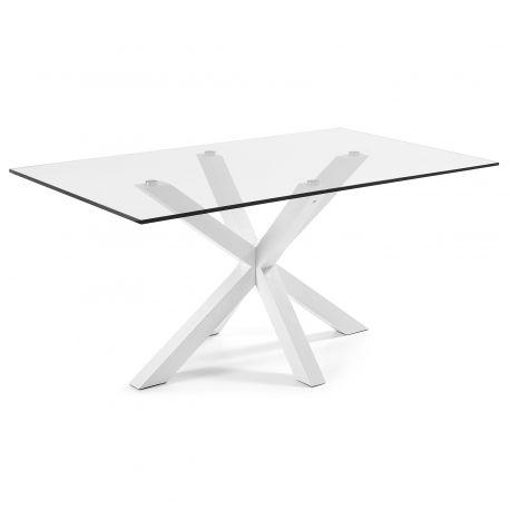 Masa Dining ARYA 160x90cm otel alb/ sticla - Evambient Barcelona Living - Mese dining