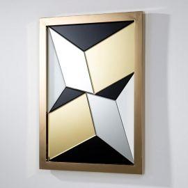 Oglinda multicolora cu rama metal auriu, 112x82cm Coral