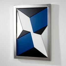 Oglinda multicolora cu rama metal argintiu, 112x82cm Coral