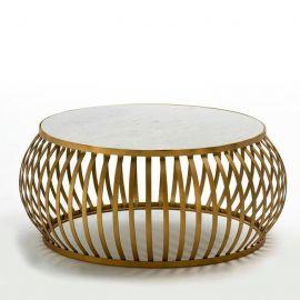 Masuta de cafea design lux din metal auriu si blat din marmura alba Ozella