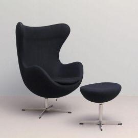 Fotoliu cu taburet design lux tapiterie neagra Egg