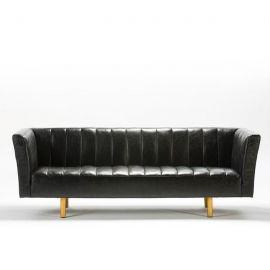 Bancheta/ canapea 3 locuri din piele neagra Van