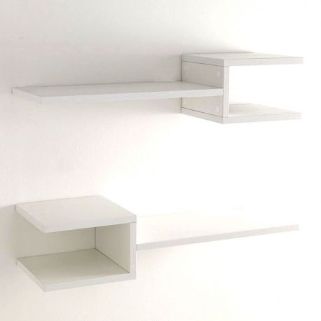 Set 2 rafturi de perete DIAPASON WHITE