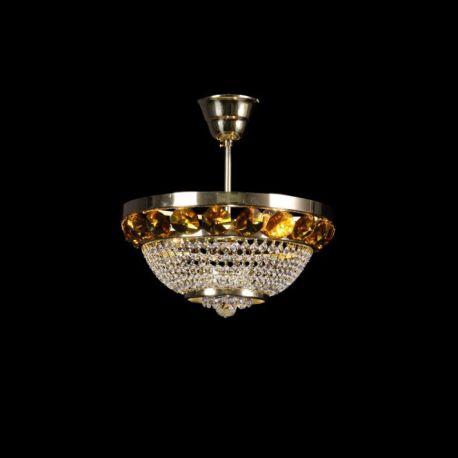 Plafoniere Cristal Bohemia - Lustra Cristal Bohemia diametru 30cm, auriu/ light topaz