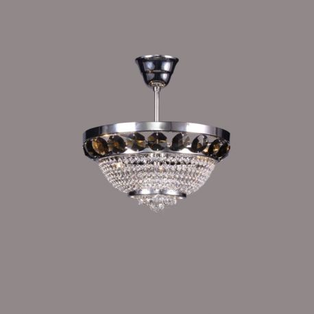Plafoniere Cristal Bohemia - Lustra Cristal Bohemia diametru 30cm, nickel/ smoke