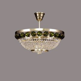 Lustra Cristal Bohemia diametru 40cm, auriu/ olivine