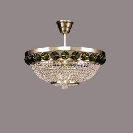 Plafoniere Cristal Bohemia - Lustra Cristal Bohemia diametru 40cm, auriu/ olivine