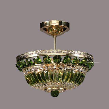 Plafoniere Cristal Bohemia - Lustra Cristal Bohemia diametru 35cm, olivine