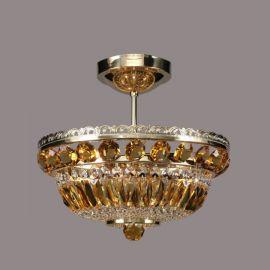 Plafoniere Cristal Bohemia - Lustra Cristal Bohemia diametru 35cm, light topaz