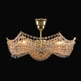 Plafoniere Cristal Bohemia - Lustra Cristal Bohemia diametru 42cm, auriu
