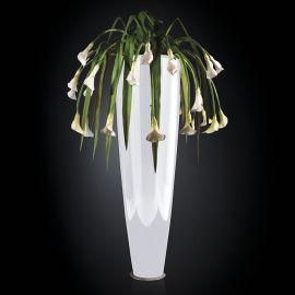 Aranjamente florale LUX - Aranjament floral PARIS IN SHINY VASE, alb 210cm