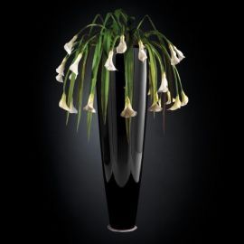 Aranjamente florale LUX - Aranjament floral PARIS IN SHINY VASE, negru 210cm