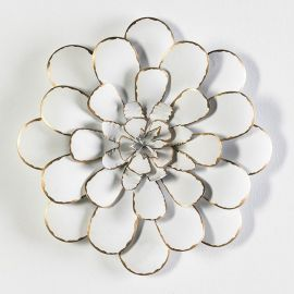Decoratiuni perete - Decoratiune perete din metal alb/ auriu Flower 49cm