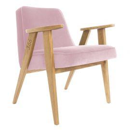 Fotoliu 366 Armchair, VELVET roz deschis/ stejar