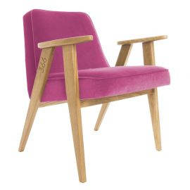 Fotoliu 366 Armchair, VELVET roz/ stejar