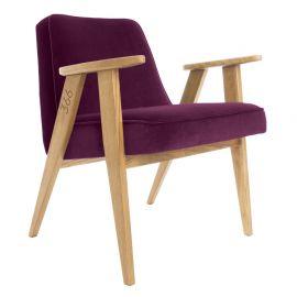Fotoliu 366 Armchair, VELVET violet inchis/ stejar