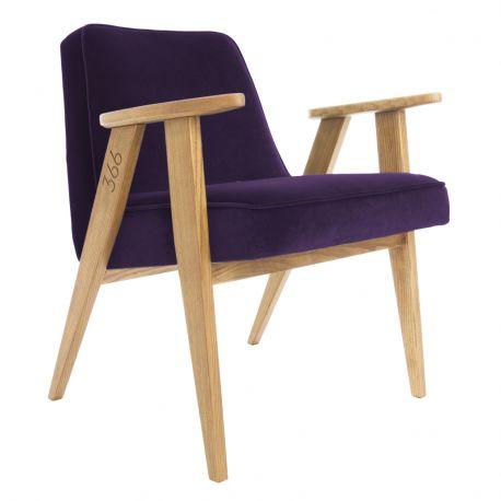 Fotolii - Fotoliu 366 Armchair, VELVET violet/ stejar