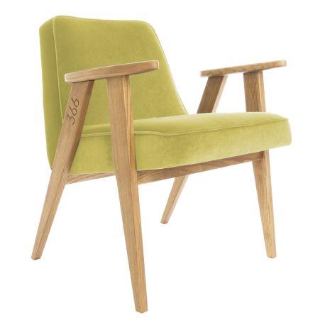 Fotolii - Fotoliu 366 Armchair, VELVET verde lemon/ stejar