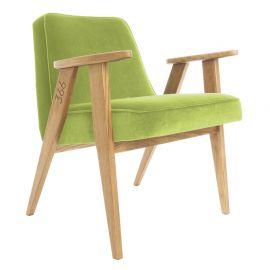 Fotoliu 366 Armchair, VELVET verde deschis/ stejar